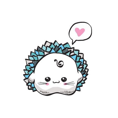 kawaii cute hedgehog on a white background Vector