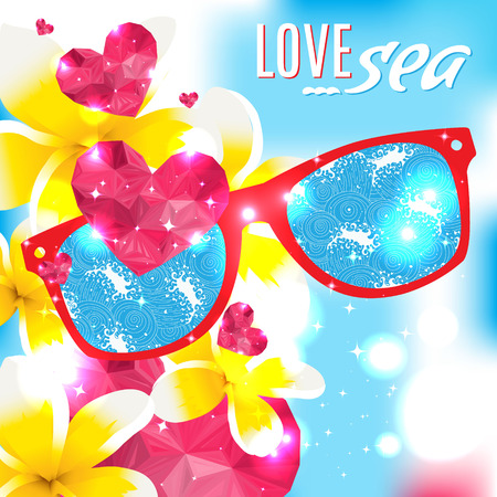 Love and the sea vector summer illustration Vector