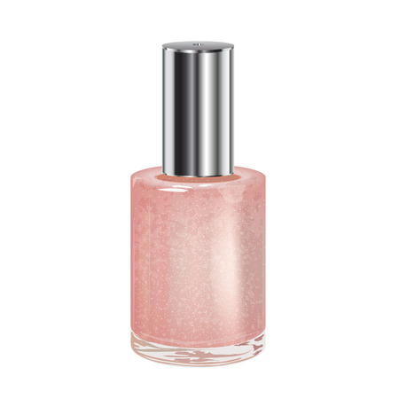 varnish: Nail polish with silver cap on a white background  Vector object