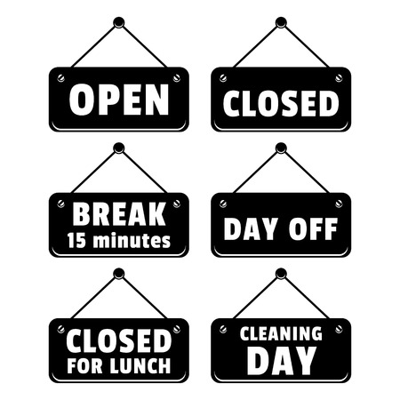 Tablets open and closed signs vector set Vector