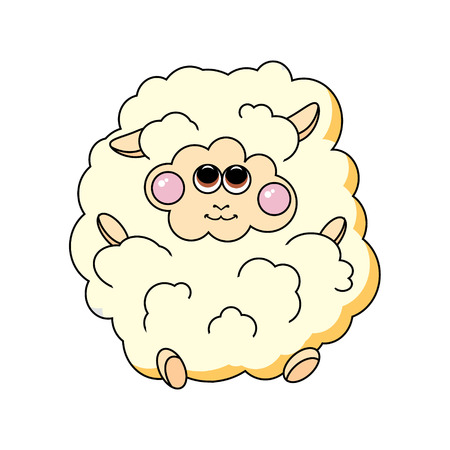 bleating: Fun sheep on white background  Vector