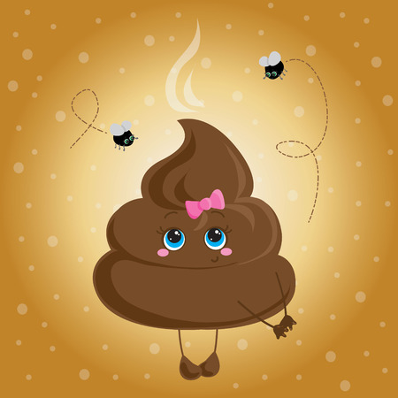 Cute turd with a bow and flies  Vector character  Vector