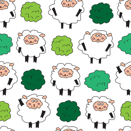 Sheep seamless pattern for your design Vector