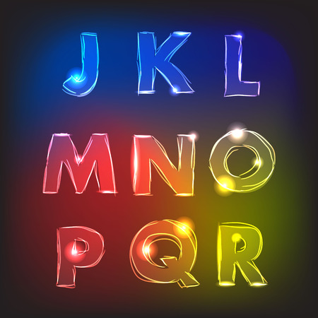 alphabetical order: English alphabet with a neon glow effect