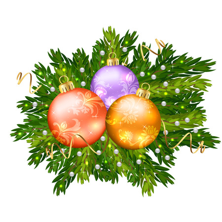 Christmas balls isolated on white background cutout Vector