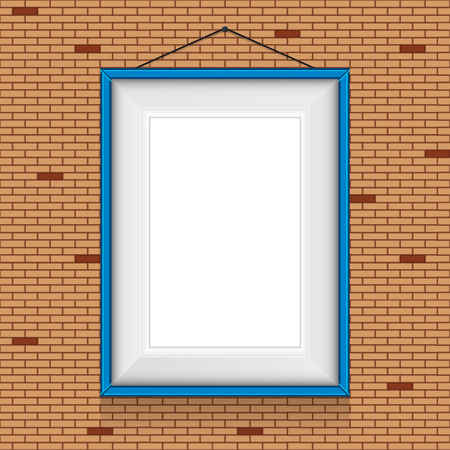 Vector frame for paintings or photographs on the brick wall background  Template for greeting card  Vector