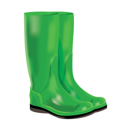 Red rubber boots for wet weather  Vector illustration  Vector