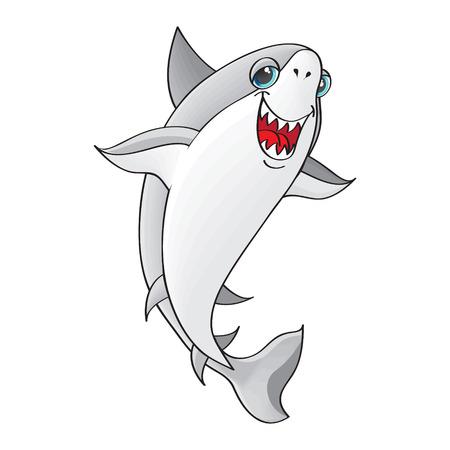 Shark on white background   Character  vector Vector