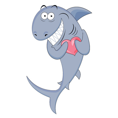 Shark with a heart in his hands  Character  Funny love Vector