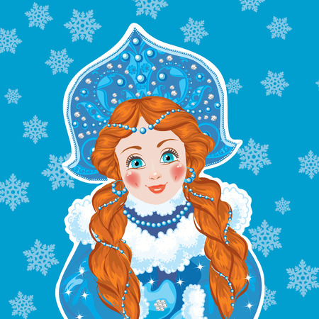 maiden: Russian Snow Maiden with braids wearing a blue winter coat