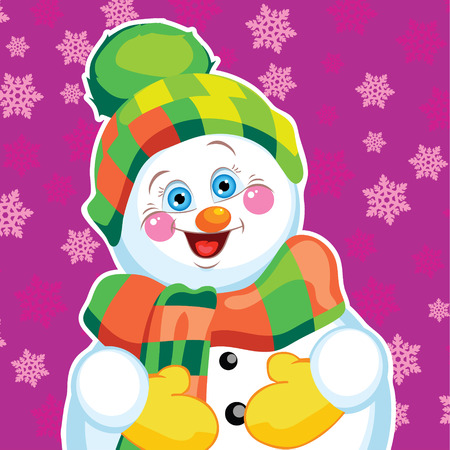 Snowman on background with patterns   Vector character  Vector