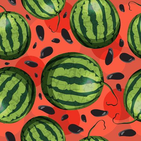 Watermelon and seeds from watermelon  Vector seamless pattern  Vector