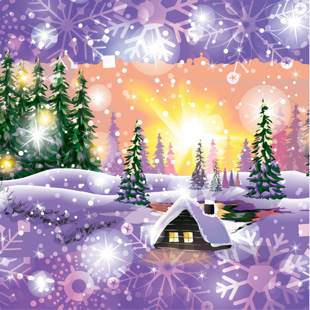 Winter landscape vector with house in forest  Vector