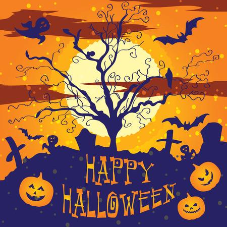 Halloween vector illustration Graveyard Poster night background Illusztráció