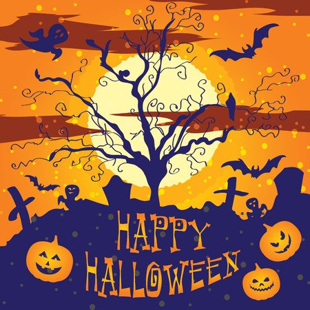 Halloween vector illustration Graveyard Poster night background Illustration
