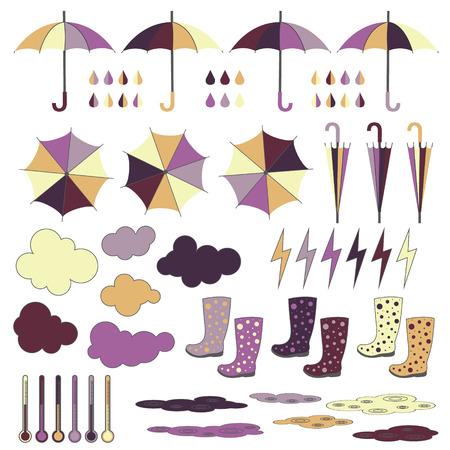 rubberboots: Gummistiefel Schirme Blitz regen regen Wolken Vektor-Set