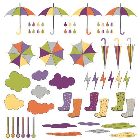 Les bottes de caoutchouc parapluies pluie foudre des nuages ??de pluie Vector set