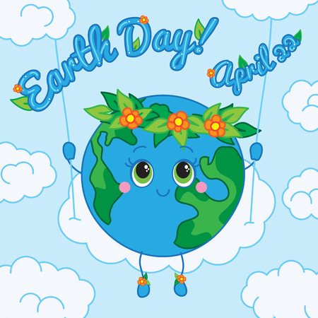 Earth swing-by clouds wreath on his head  Vector