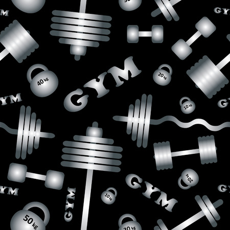 Fitness healthy lifestyle pattern background with dumbbell barbell weights gym  Vector