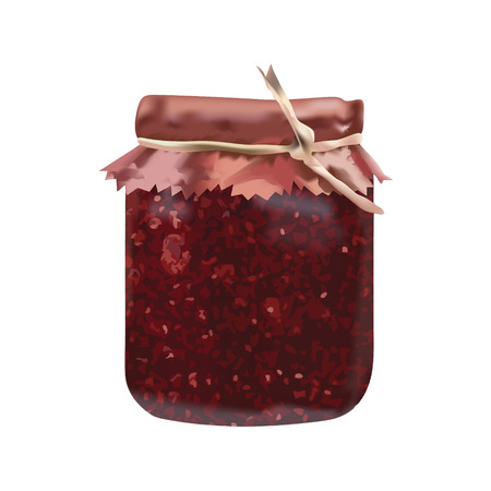 Bank from glass for jam raspberry with cover  For new design Vector