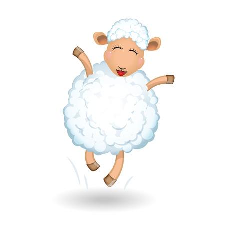 legged: Sheep on white background  Jumping, running, fun   Illustration