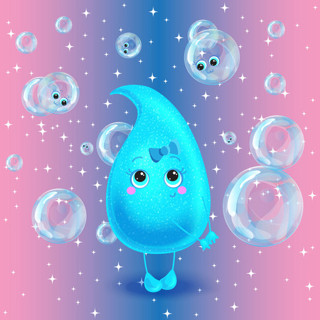 Water droplet girl on pink background with bubbles