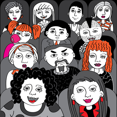 People in the audience cinema vector illustration Vector