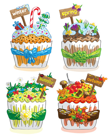 seasons cupcakes on a white background winter spring summer autumn Vector