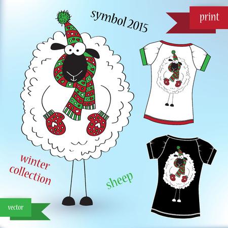 Sheep in winter hat Graphic T- shirt design print Vector illustration Vector