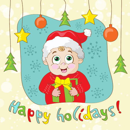 Create a Vintage-Style Christmas Card with child Vector