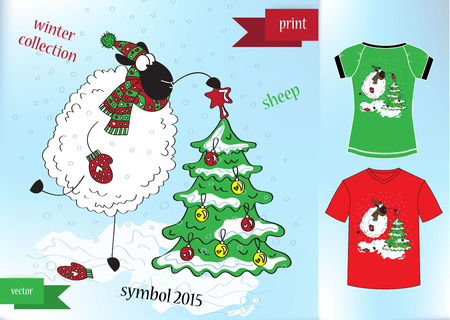Sheep in winter hat Graphic T- shirt design print Vector illustration Vector