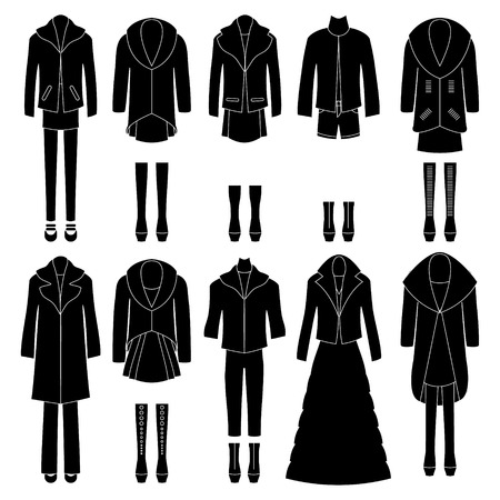 women   s clothes: Set of women s clothes icons Different combinations Vector
