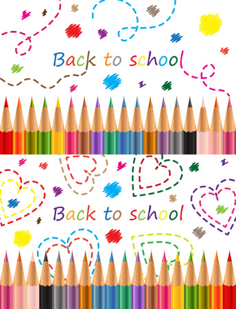 Back to school Colored pencils Vector illustration on white background Vector