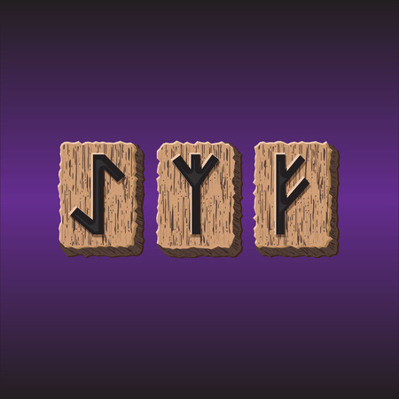 psychic: Norwegian Rune icons vector Set of three pieces Illustration
