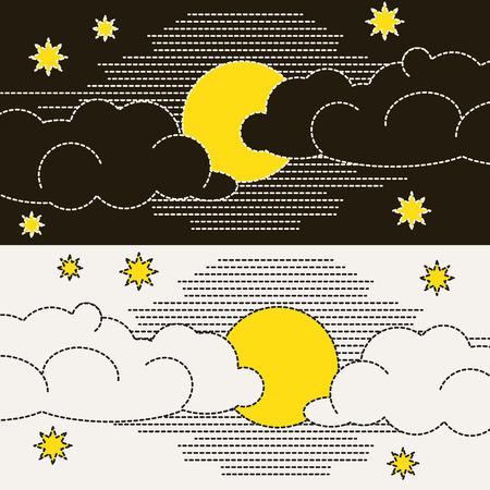 dulces sue�os: Luna, las nubes y las estrellas Dulces sue�os wallpaper Vectores