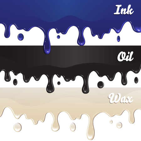 Ink, oil, wax drips on white background vector