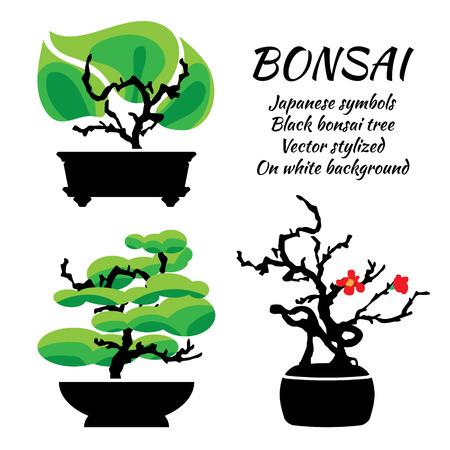 Bonsai, vector set op een witte achtergrond, illustratie sjabloon