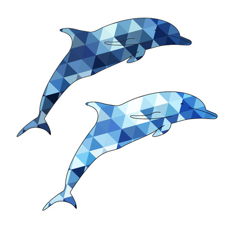 aciculum: Dolphins silhouette isolated on white background vector