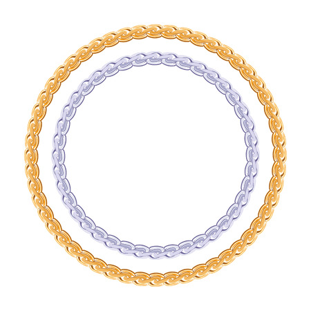 hard love: Figured gold and silver chain - round frame vector