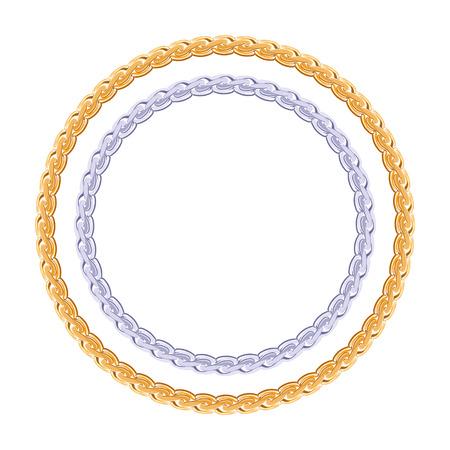 Robusto oro y cadena de plata - vector marco redondo