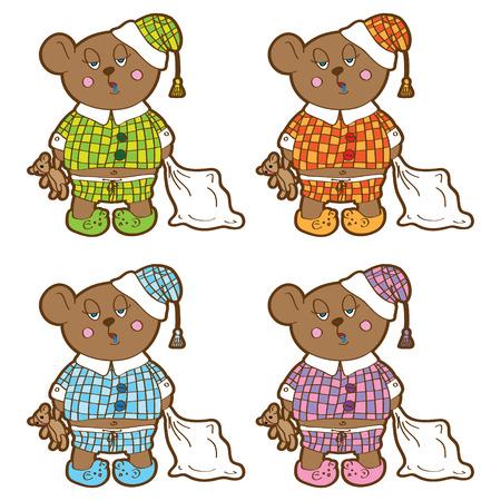 pl�schtier: Sleepy Bear im Schlafanzug mit einem Kissen und Stofftier seine H�nde Set in verschiedenen Farben Vektor-Zeichen