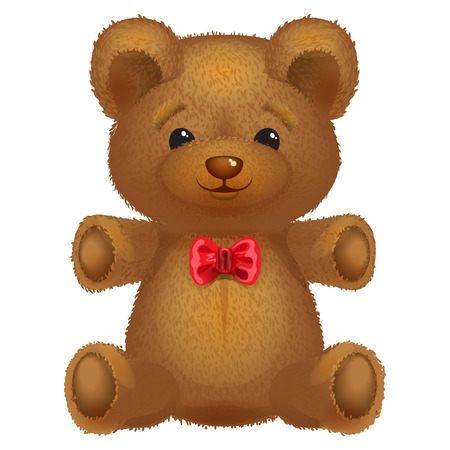 Teddy bear vector brown with a red bow on a white background  Ilustração