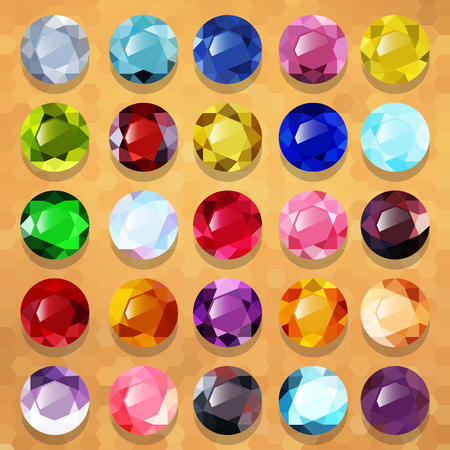 Set of multicolored precious stones round vector Ilustracja