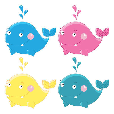 minke: Colorful funny whales Vector character set on white background