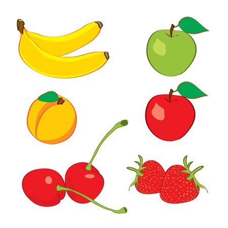 Colorful fruits in hand drawn sketch style Vector
