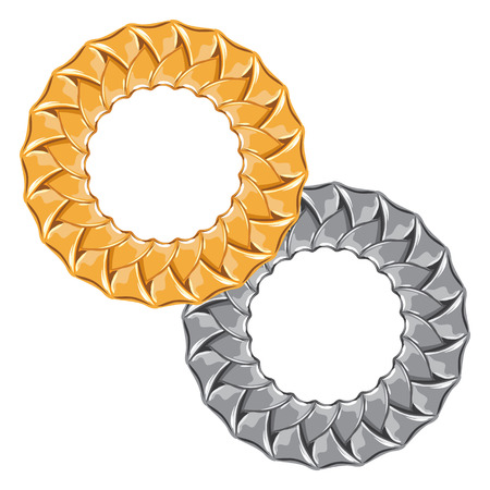 Figured gold and silver chain - round frame vector Vector