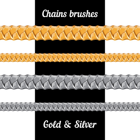 Set of chains of metal brushes - gold and silver  vector Vector