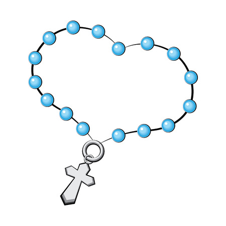 Rosary with a cross  Vector