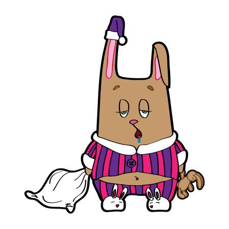 pl�schtier: Kaninchen mit einem Kissen und einem weichen Spielzeug in seinen H�nden