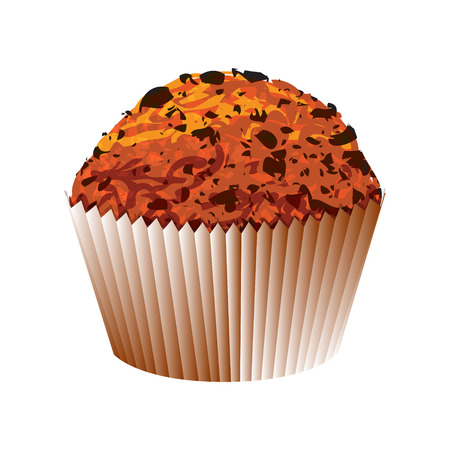 glazed: Muffin with chocolate cake  Vector object on white background